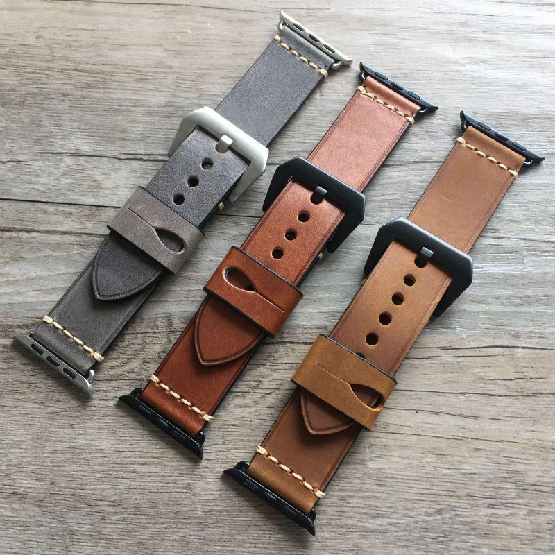 URVOI bande pour apple montre série 1 2 3 sangle pour iwatch ceinture pour Panerai style haute qualité à la main Rétro En Cuir bande 38 42mm