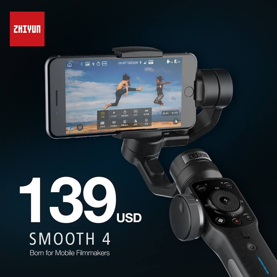 Zhiyun Smooth 4 3-Axis Focus Pull & Zoom Capability Handheld Gimbal Stabilizer for iPhone X 8 7 Plus Samsung S8+ S8
