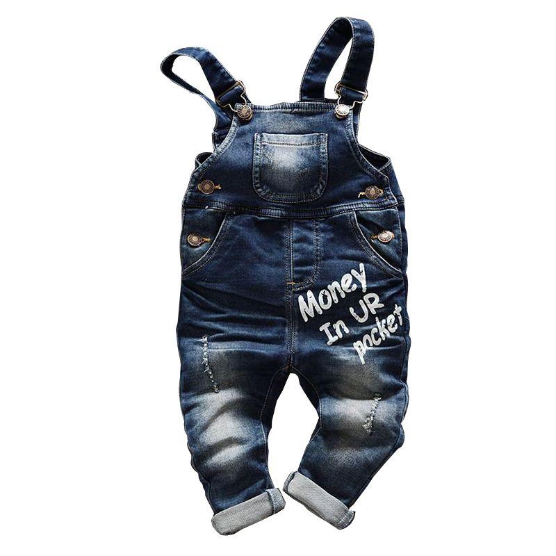 Bébé garçon jean lettre salopette bavoir enfant denim pantalon infantile combinaison vêtements pour enfants barboteuse enfants jeans printemps automne nouveau-né