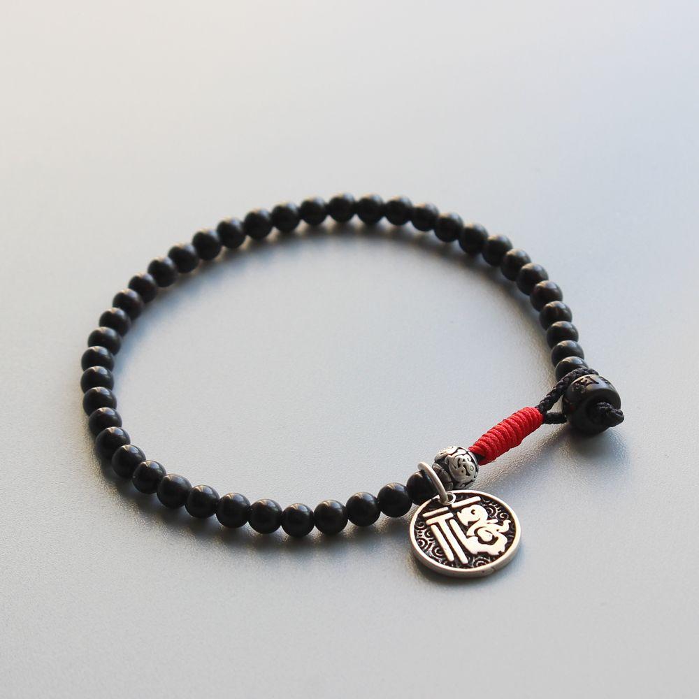 2019 perle de noix de coco naturelle perle Simple Bracelet avec argent chinois porte-bonheur charme tibétain Lama fait à la main Bracelet prière bijoux