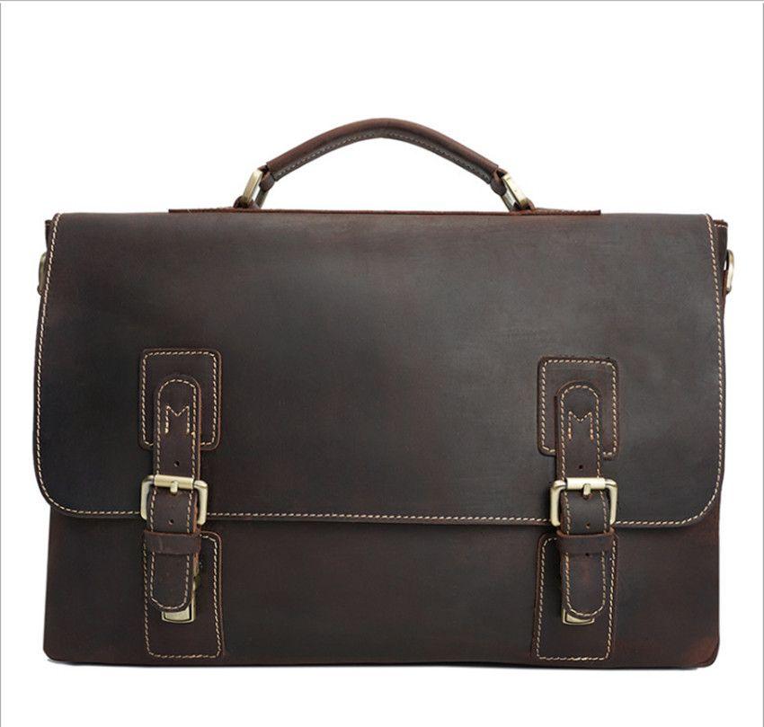 Top Grade Male Men's Vintage Real Crazy Horse Leather Briefcase Messenger <font><b>Shoulder</b></font> Portfolio 15' Laptop Bag Case Office Handbag