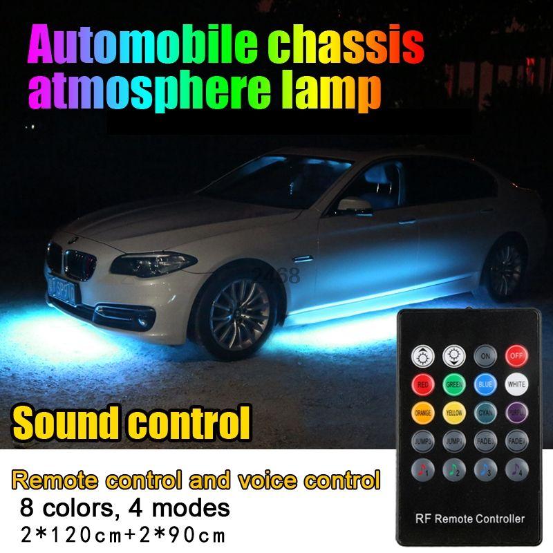 Colorful Strip Under Car Tube Underglow Underbody Glow System Neon Light Kit 120cm 90cm