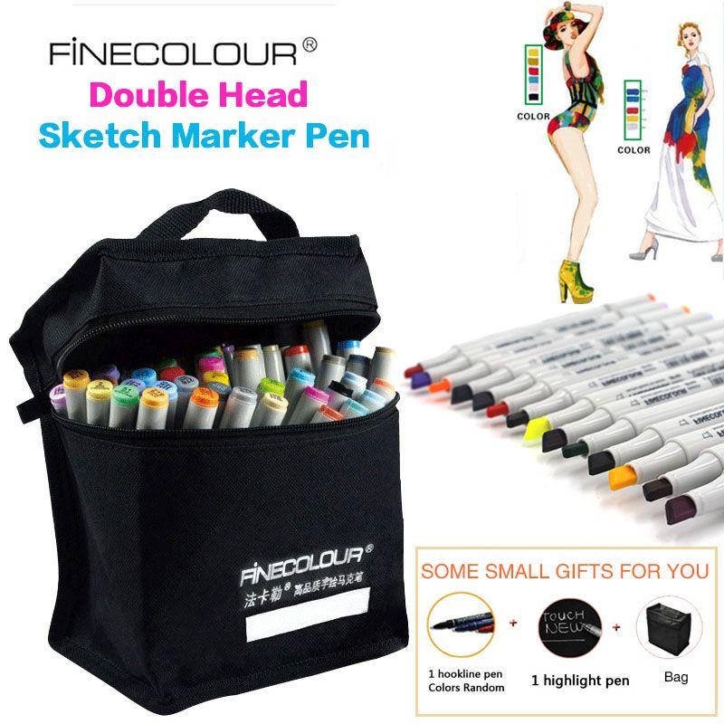 FINECOLOUR 160 Colors Optional Alcohol Based Marker Double Headed Sketch Drawing Marker Pen Set Painting Sketch Art Marker Pen