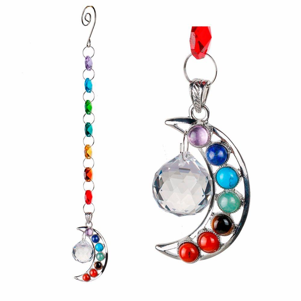 10 pouces Suspendus Chakra Cristal Suncatcher Naturel Pierre Lune Cristal Prisme Boule Demi-Lune Arc-En-Main Balle Pendule Pendentif