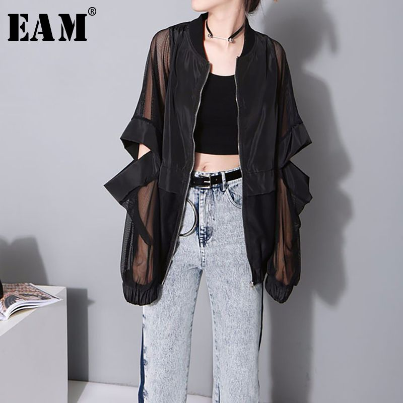 [EAM] 2018 New Summer Stand Collar Long Sleeve White Thin Hollow Out Loose Big Size Perspective Jacket Women Fashion Tide JF734