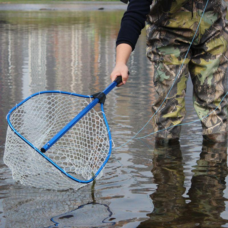 130cm Fly Fishing Net Aluminum Alloy Telescoping Foldable Landing Net Pole for Carp Fishing Rubber Net Fishing Accessories