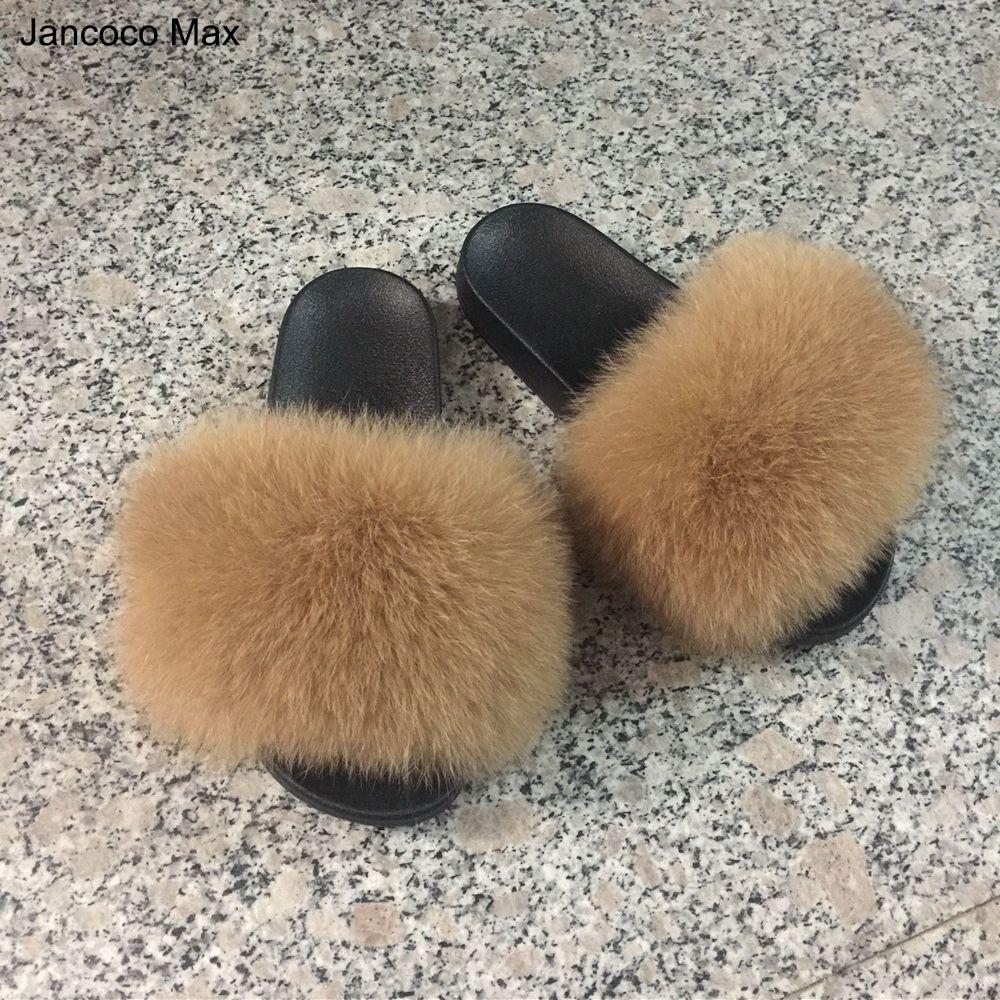 Jancoco Max 2018 Réel Renard Fourrure Pantoufles Femmes Curseurs De Mode Printemps Été Automne Fourrure Diapositives Intérieur En Plein Air Plat S60GLOves18