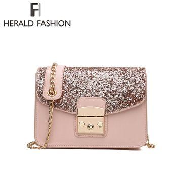 Herald moda mujeres lentejuelas bolsa de mensajero calidad de cuero flap bag cadena hombro femenino bolsa lay Bolsos Crossbody