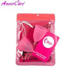 Coletor Menstrual 2Pcs Medical Grade Silicone Hygiene Menstrual Cups Lady Menstrual Cup Mestrual Aneercare Coupe Menstruell S+L