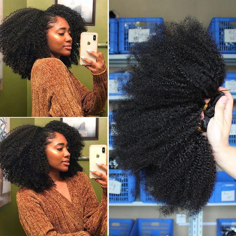 Mongol Afro crépus bouclés cheveux armure avec fermeture naturel noir 4B 4C cru vierge cheveux humains paquets Extension 3 Dolago produits