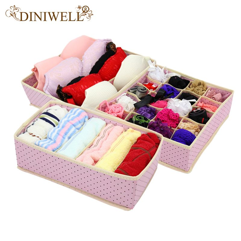 DINIWELL 3 pièces pliable non tissé maison boîte de rangement lingerie pour soutien-gorge cravate chaussettes conteneur organisateurs placard dessiner diviseurs