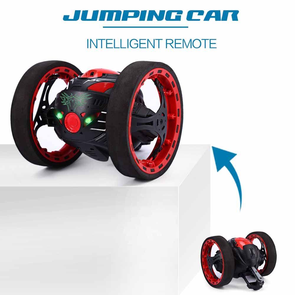 Mini voitures rebond voiture PEG SJ88 2.4 GHz voiture RC avec roues flexibles Rotation lumière LED télécommande Robot voiture jouets pour cadeaux