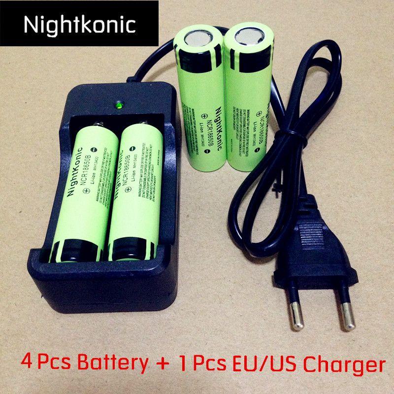 D'origine Nightkonic 4 Pièces/lot 18650 batterie + 1 PCS UE/US 2 fente Chargeur 3.7 V Li-ion Rechargeable Batterie MH13400