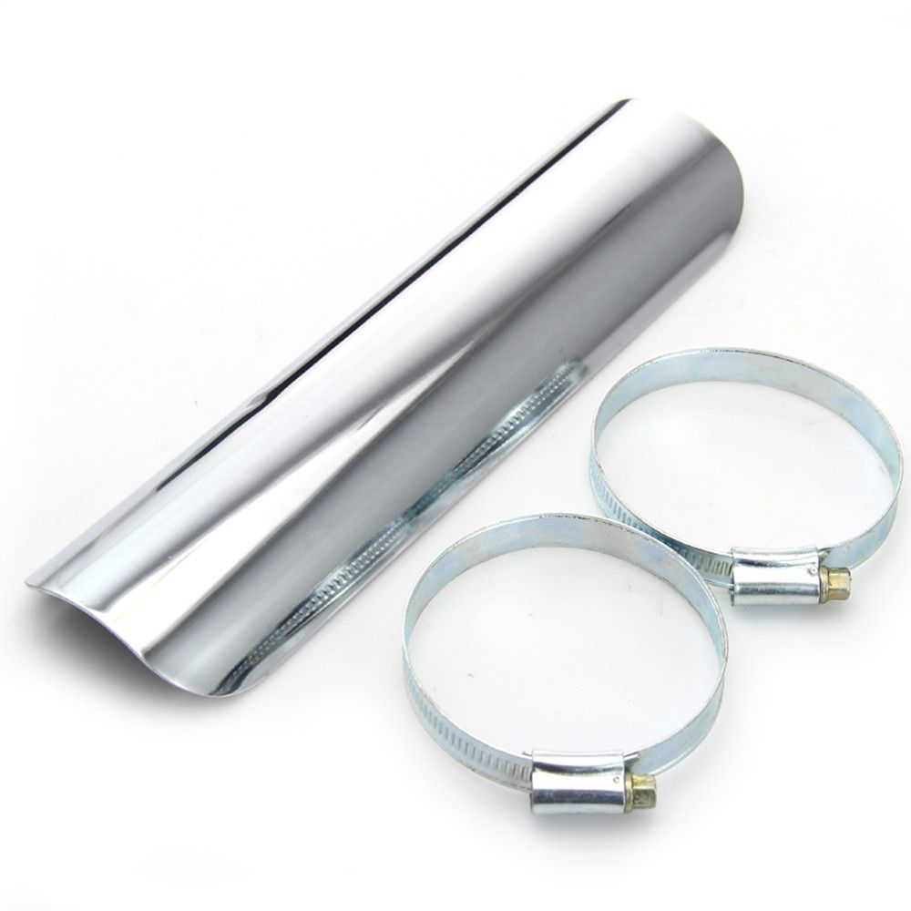 New Chrome Steel Exhaust pipe Cover Heel Guard Heat Shield Cover Motorcycle Heel Guard Heat Shield Cover #6575
