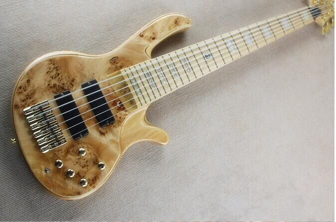 Free shipping 6 strings electric bass guitar active pickups /electric bass guitar/gold hardware
