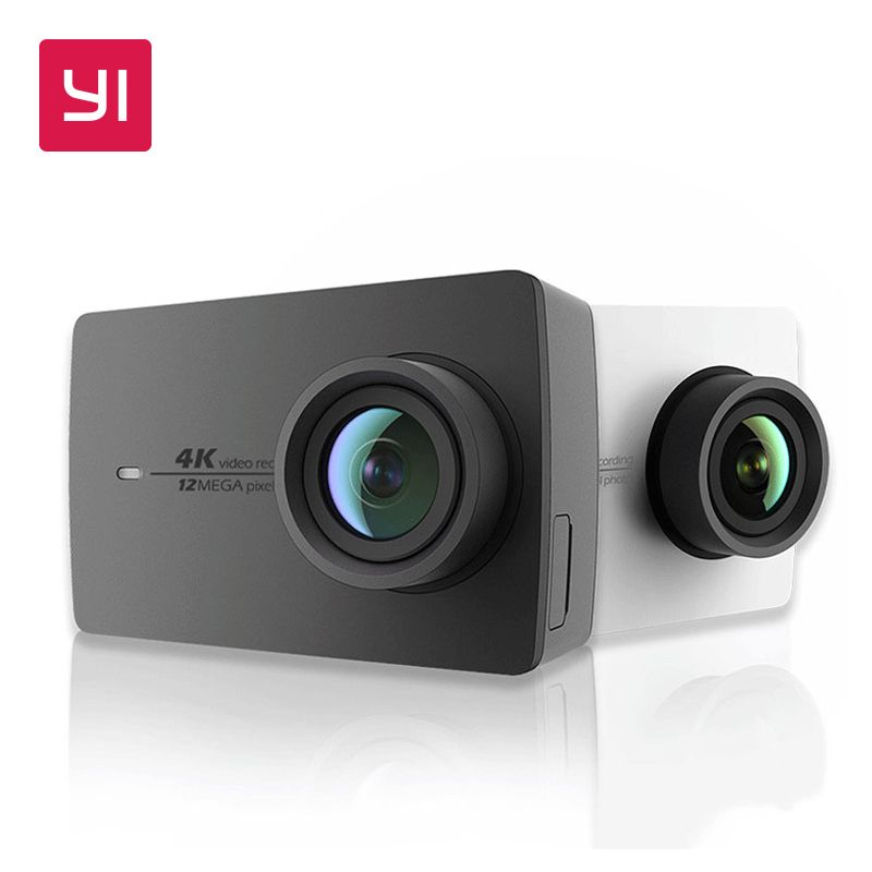 YI 4 K D'action Caméra Noir et Blanc Version Internationale Ambarella A9SE Cortex-A9 BRAS 12MP CMOS 2.19