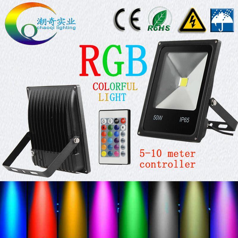 RGB LED Flutlicht Wasserdicht 20 watt 30 watt 50 watt 100 W 220 v 110 v bunte fernbedienung controlle outdoor Wand Lampe Garten Projektor AC12V24V