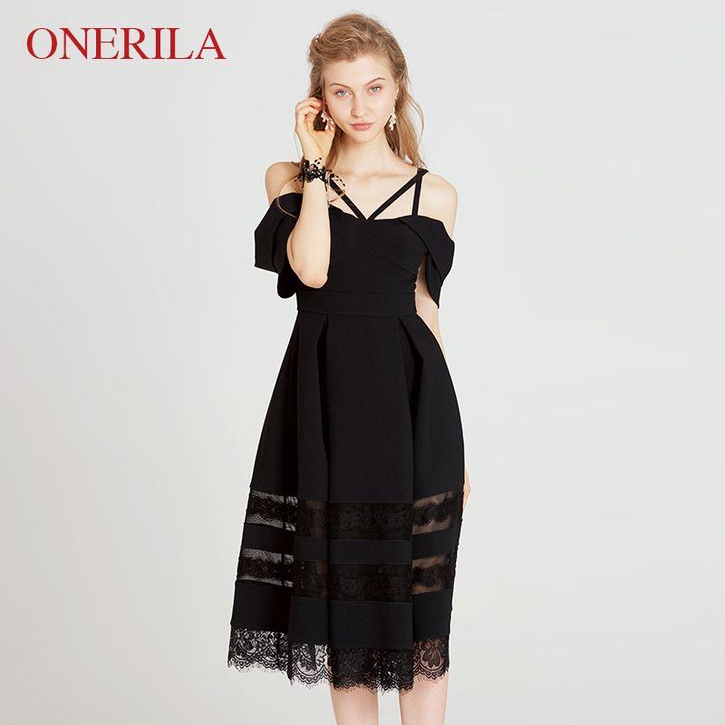 ONERILA 2018 Elegant Backless Slash Neck Short Sleeve Cold Shoulder Knee Length Solid Black Dress Lace Hem A-Line Women Dresses