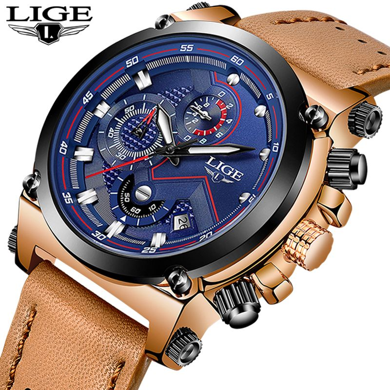 LIGE Mens Watches Top Brand Luxury Casual Leather Quartz Watch Men Military Waterproof Sport Chronograph Clock Relogio Masculino