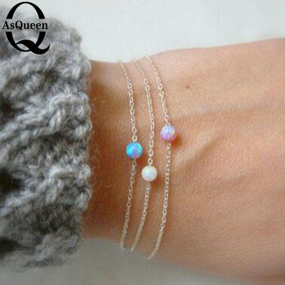 Новое поступление Мода Опал Камень Браслет для Для женщин круглый Форма дружбы Браслеты влюбленных подарок