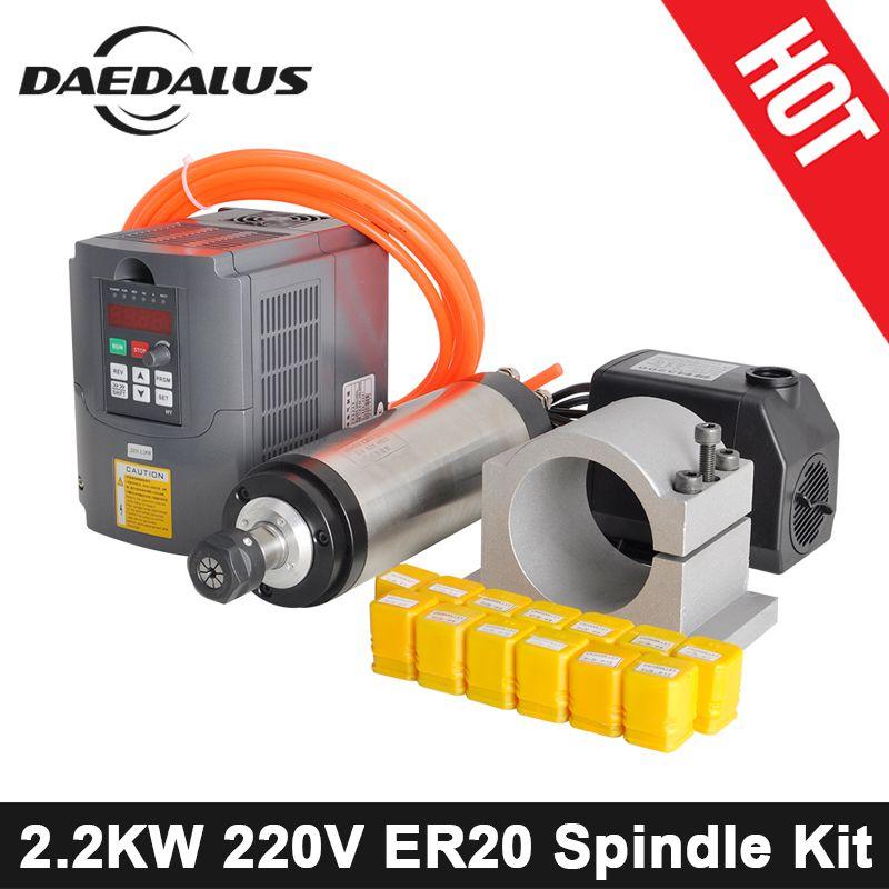 CNC Spindel Motor 2.2KW 220 v Wasser Gekühlt Spindel Motor Kit VFD Inverter 80mm Clamp Wasser Pumpe/Rohr ER20 Collet Set Für Stecher