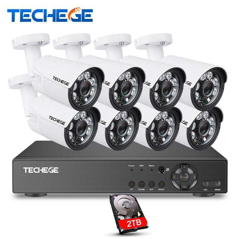 Techege 8CH 1080P Security Camera System 8ch DVR 1080P HDMI Video Output Waterproof Bullet Camera 2MP Camera Surveillance Kit