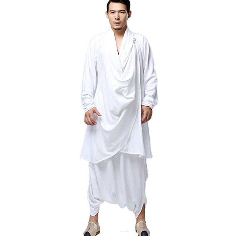 LZJN bouddhiste méditation hommes hauts vêtements traditionnels chinois Kung Fu ensemble coton lin Blouse taille élastique pantalon lâche chemise