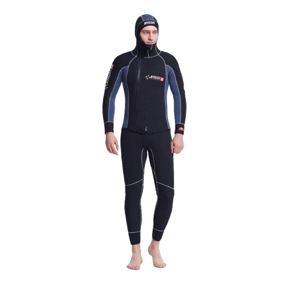 Doppel Warme 2 stücke 5 MM neoprenanzug Neopren Tauchen Neoprenanzug Mit Kapuze Reißverschluss Split Speerfischen Nass Anzug Für Männer ausrüstung