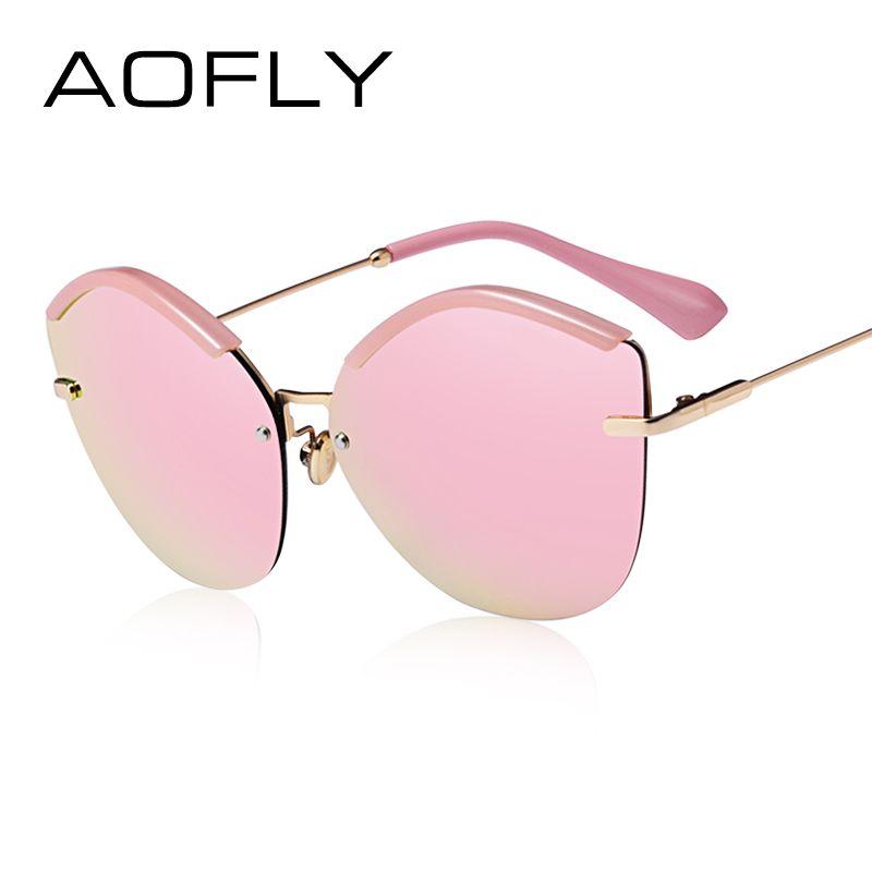 AOFLY 2017 Fashion Women Cat Eye Sunglasses Original Brand Design Sun Glasses Female Ultralight Glasses Mirror Lens UV400 AF7948
