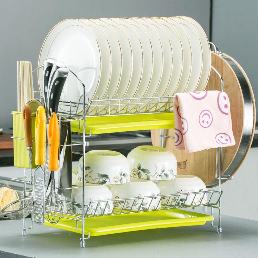 1Set 2 Layer Chrome Kitchen Dish Cup Drying Rack Drainer Dryer Tray Cutlery Holder Turret Organizer Kitchen Storage Shelf