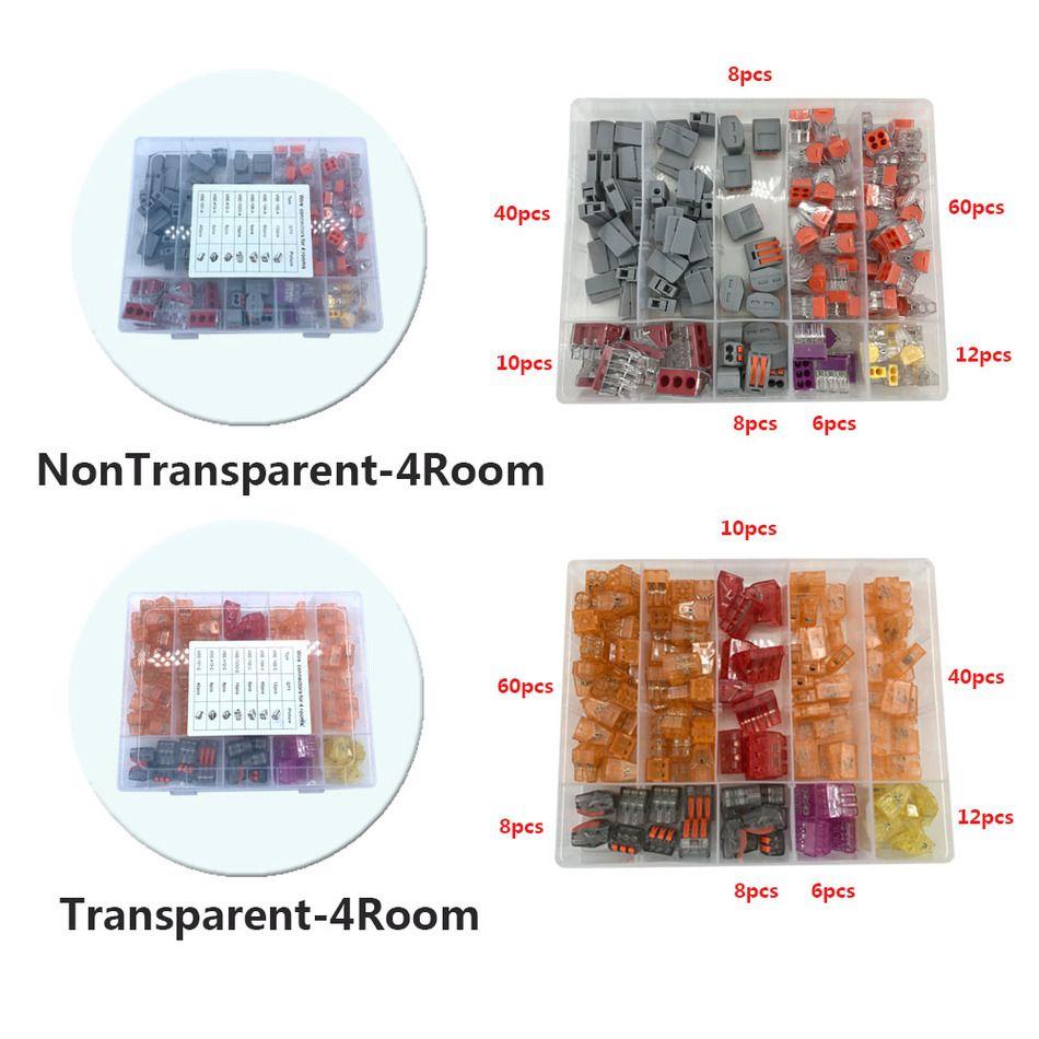 Wago Fil Connecteur 144 Pcs/boîte Combinaison Costume Pour 4 Chambre Mixte Universal Type Rapide Câblage Éclairage Accessoires Terminal Chine