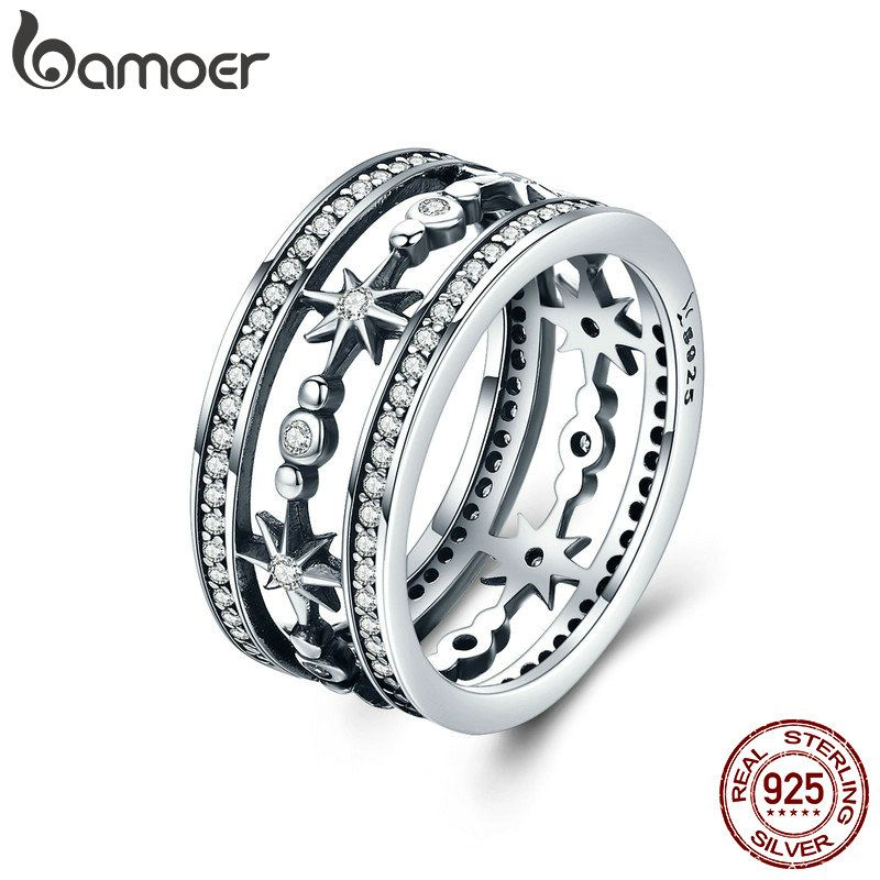 BAMOER High Quality 100% 925 Sterling Silver Cocktail Sparkling Star Female Rings for Women Sterling Silver Jewelry Anel SCR258
