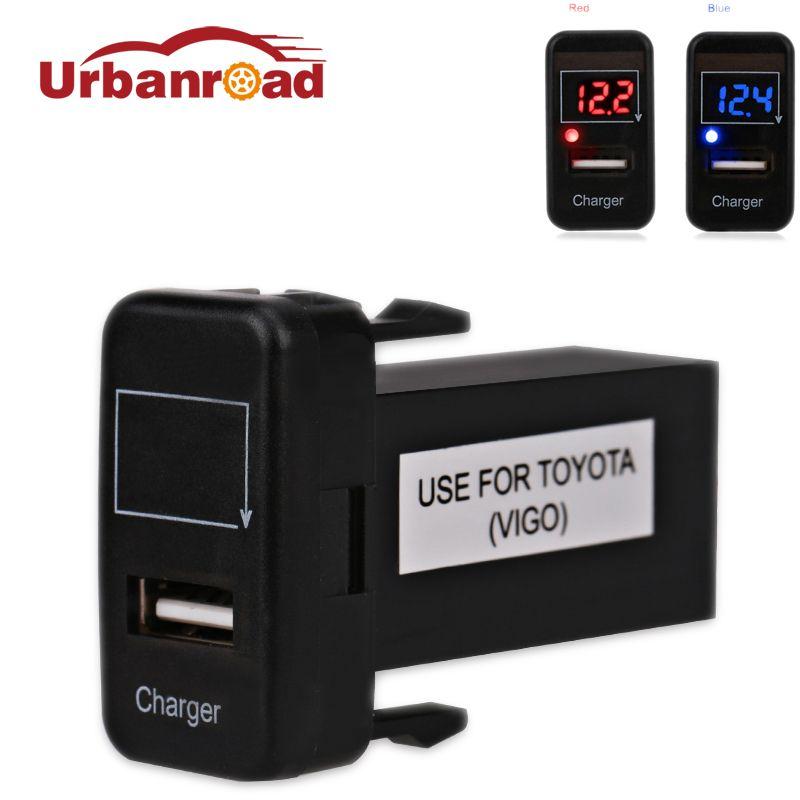 Pour Toyota chargeur voltmètre USB adaptateur Interface prise Port voltmètre Auto 12 v USB voiture prise de Charge puissance pour Toyota VIGO