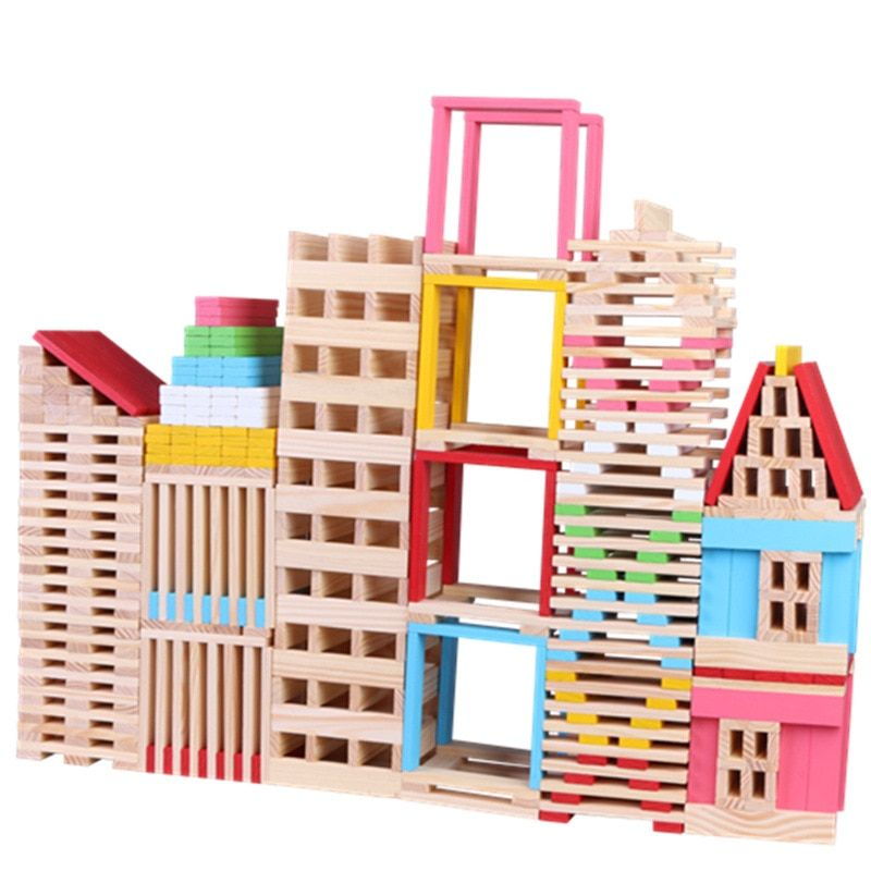 150PCS Baby Toys 3D Wooden Puzzles DIY Villa Train Educational Board Games Halloween Brinquedos Birthday Gift for Children Toys