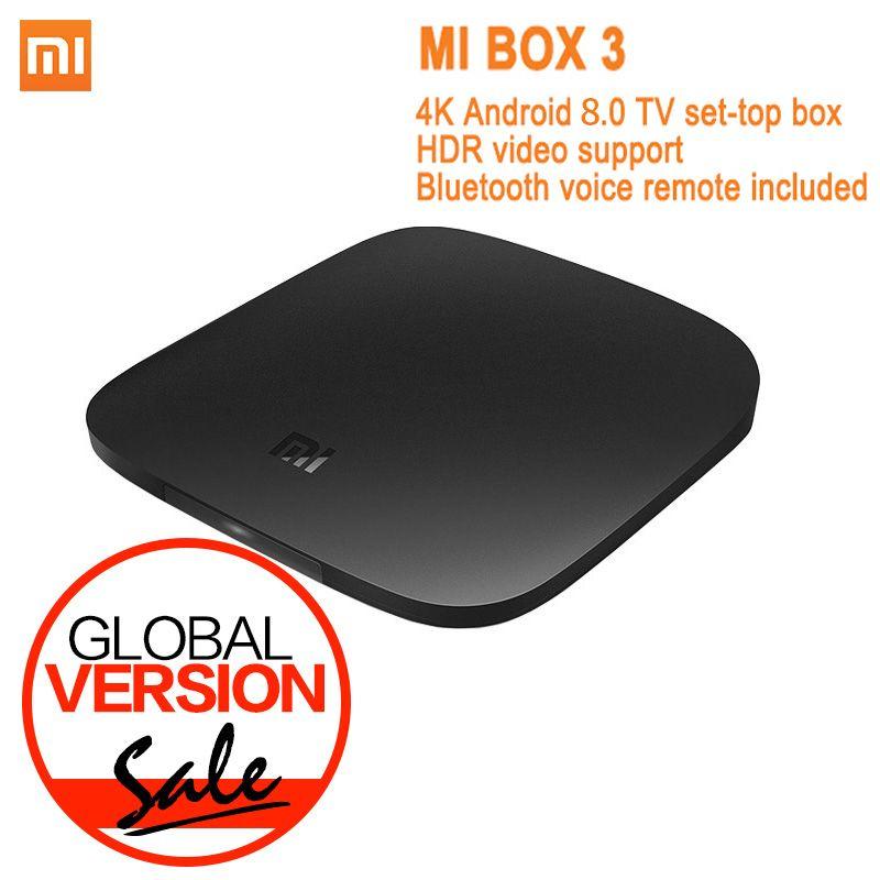 Version mondiale Xiao mi mi TV Box 3 Android 8.0 4K 8GB HD WiFi Bluetooth multi-langue Youtube DTS Dolby IPTV lecteur multimédia intelligent