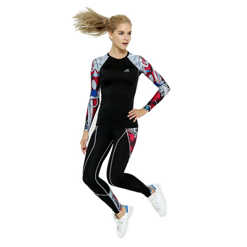 2016 Life on Track New Women's Yoga sets Compression pants and high elastic compression shirt for sports Workout Athletic Fitnes