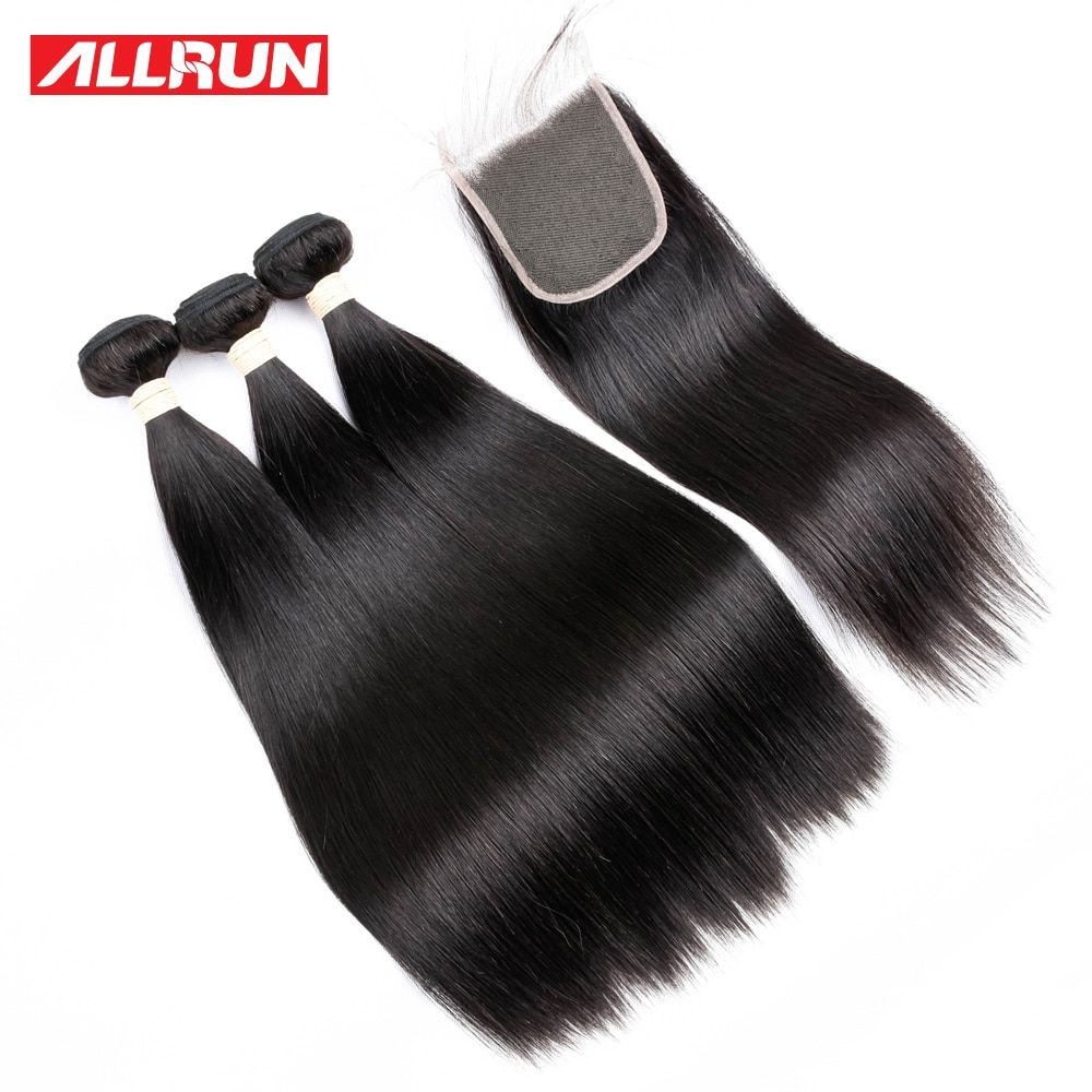 ALLRUN Peruvian Straight Hair 3 Bundles Human Hair Extensions With 4*4 Lace Closure Double Weft Non Remy Hair Weave Bundles