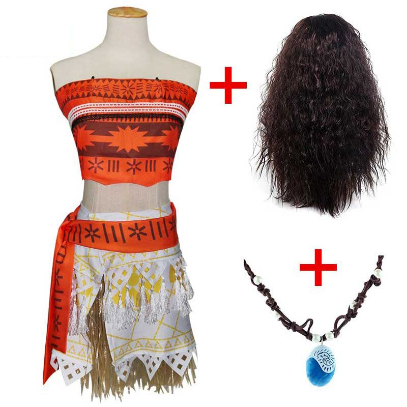 Adulte enfants princesse Vaiana Moana Costume robes avec collier perruque femmes filles Halloween fête Moana robe Costumes Cosplay