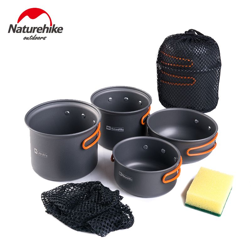 Naturhike -New Ultralight Outdoor Camping Cookware Utensils Four Combination Cookware Tableware For Picnic Bowl Pot Pan Set