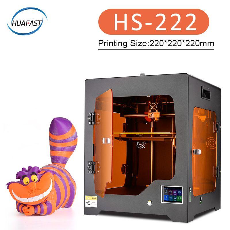 2019 HS-222 große 3D Drucker Plus Größe Komplett Geschlossenen impresora 3d TFT Touch Screen Power off Lebenslauf Druck luft filtration