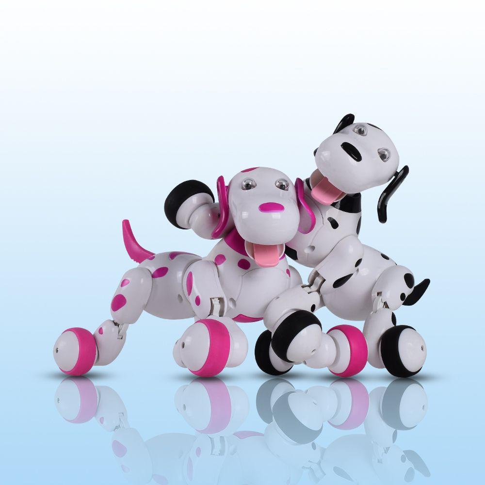 Schöne 777-338 RC Roboter Smart Hund 2,4g RC Intelligente Simulation Mini Hund Weiß Rosa Für Kinder Weihnachten geschenk