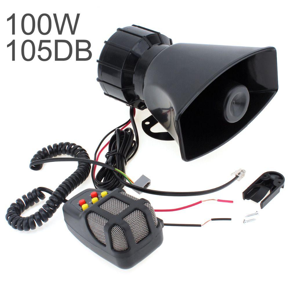 100 W 12 v 5 Sounds Motorrad Auto Lkw Lautsprecher Laute Sirene Horn 105db Mit MIC Mikrofon