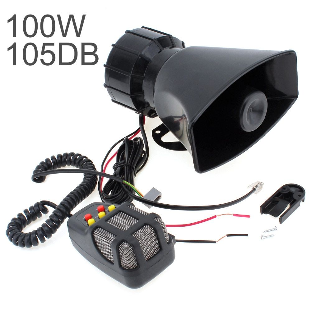 100W 12V 5 Sounds Motorcycle Car Truck Speaker Loud Siren Horn 105db With MIC Microphone