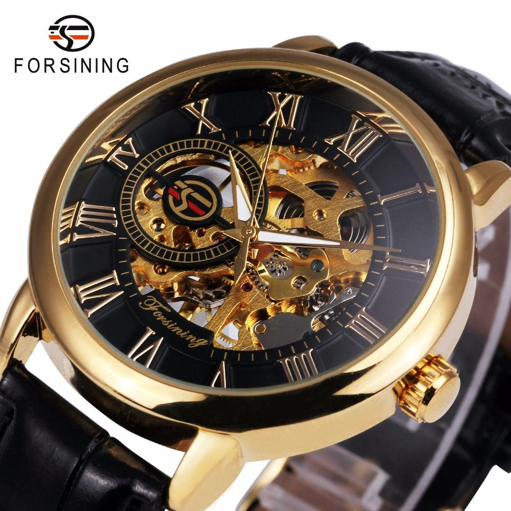 2017 FORSINING 3D Logo Black Gold Men Mechanical Watch Montre Homme Men Watches Top Brand Luxury Leather Skeleton Royal Design