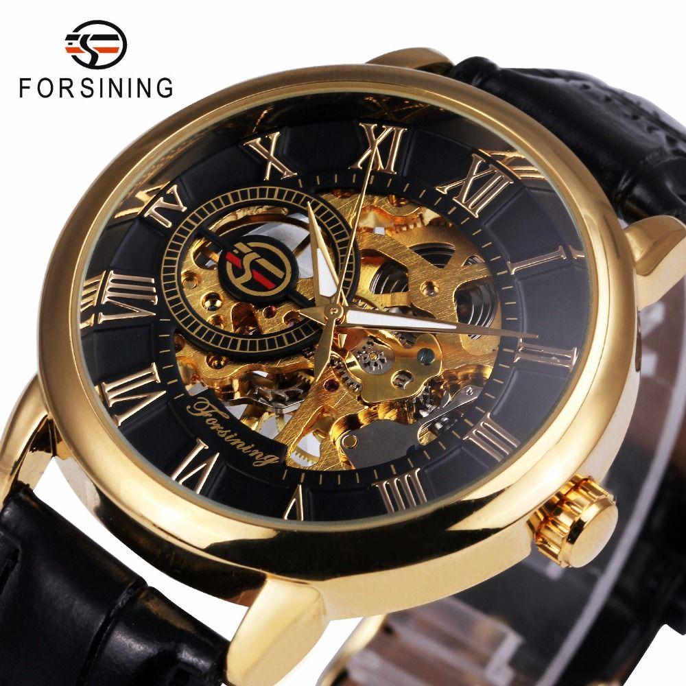2018 FORSINING 3D Logo Black Gold Men <font><b>Mechanical</b></font> Watch Montre Homme Men Watches Top Brand Luxury Leather Skeleton Royal Design