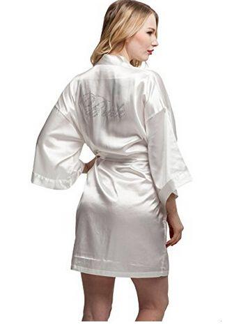 Mode soie demoiselle d'honneur mariée Robe Sexy femmes courtes Satin mariage Kimono Robes de nuit chemise de nuit Robe femme peignoir pyjamas