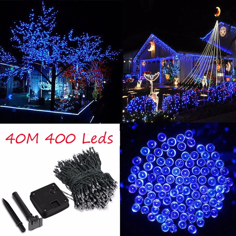 40M 137.8Ft Solar Powered 400 LED Fairy String Light Outdoor Garland Garden Christmas Tree Wedding Party Decoration Lamp