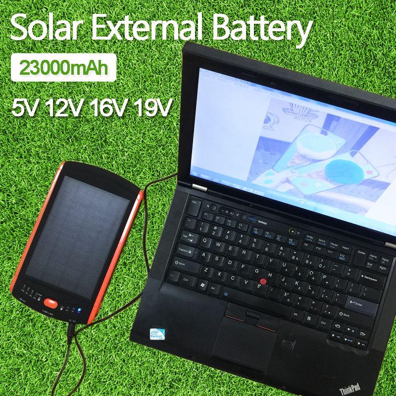 High-Power 23000 mAh Ladegerät für Laptop Backup-Power Große Kapazität Solar Externe Batterie 5 V 12 V 16 V 19 V Solarpanel Energienbank