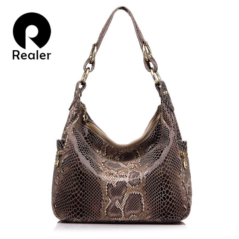 REALER brand women handbag <font><b>genuine</b></font> leather tote bag female classic serpentine prints shoulder bags ladies handbags messenger bag
