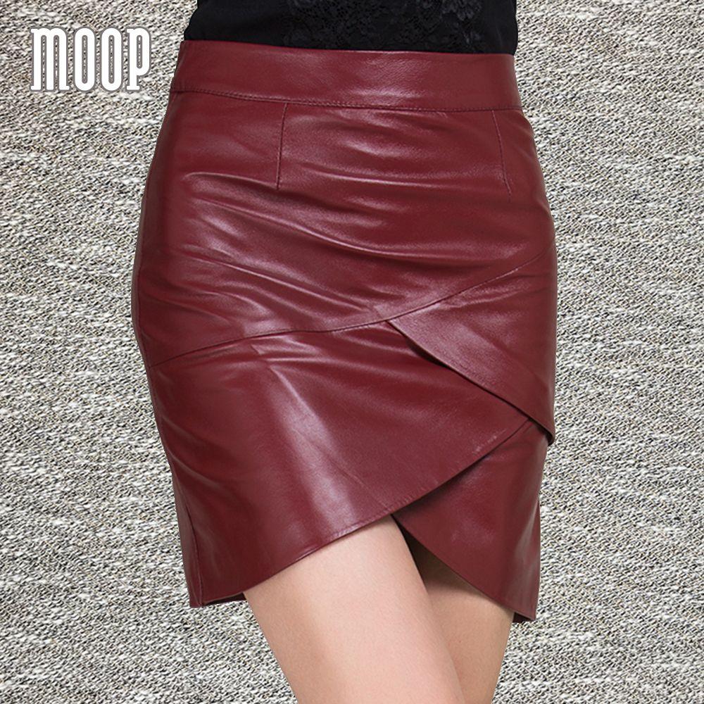 2017 New spring red black genuine leather skirts mini mermaid skirt faldas jupe saia etek 100% sheepskin bottom free ship LT1202